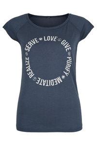Yoga T-Shirt 'Serve Love Give Purify Meditate Realize' blau/ weiß - YogiCompany