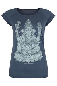 Yoga T-Shirt blau Ganesha weiß - YogiCompany