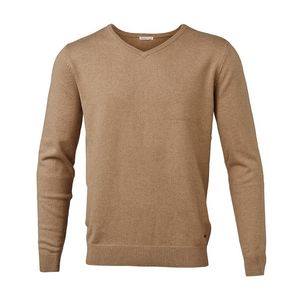 Basic V-Neck Cashmere/Cotton - GOTS - Desert Sand - KnowledgeCotton Apparel
