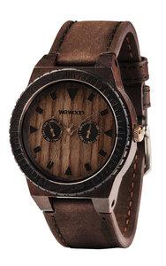 Holz-Armbanduhr LEO LEATHER CHOCOLATE | 100% hautverträglich - Wewood