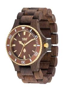 Holz-Armbanduhr DATE MB CHOCO ROUGH BROWN | 100% hautverträglich - Wewood