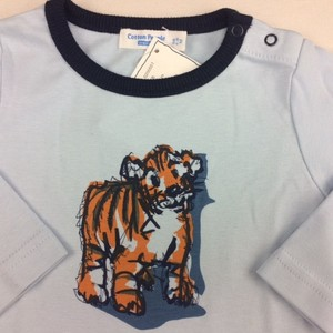 Langarmshirt hellblau mit Babytiger Aufdruck - Cotton People Organic