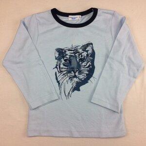Langarmshirt hellblau mit Tigerkopf Druck - Cotton People Organic