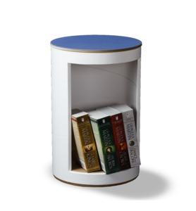 BücherHocker weiß - rund:Stil