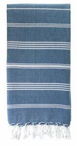 Fouta Hamam Strandtuch Bio-Baumwolle 2 x 1 Meter Ozean Blau - Karawan authentic
