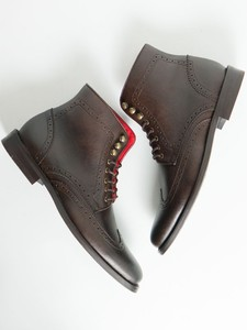 Brogue Boots Dark Brown - Wills Vegan Shoes
