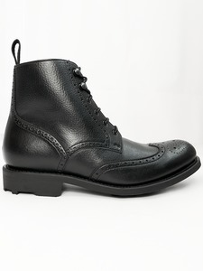 Wills BLACK Collection Brogue Boots Black - Wills Vegan Shoes