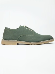 Canvas Derbys Khaki - Wills Vegan Shoes