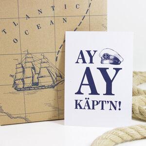 Postkarte Ay, Ay Käpt´n - Bow & Hummingbird
