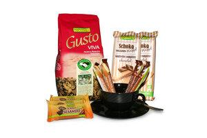 BIO Kaffeeset  'Besprechungskäffchen' mit gemahlenen Bohnen, Waffeln und BIO Schokolade für Büro, Meeting und Pausen - Rapunzel BIO