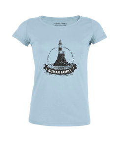 "Damen Shirt Amorous ""Lighthouse"" in light blue - Human Family"