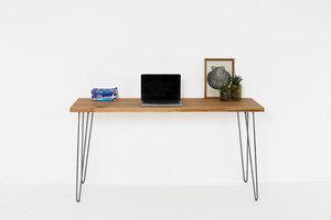 Schreibtisch aus Alteichenholz auf modernen Haarnadelbeinen - Hardman Design & Build