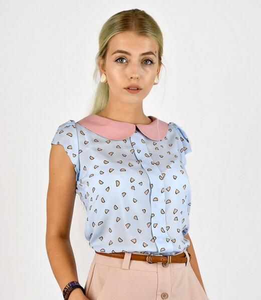 fr ulein stachelbeere sommerliche bluse mit melonens em print und bubikragen 777781624. Black Bedroom Furniture Sets. Home Design Ideas