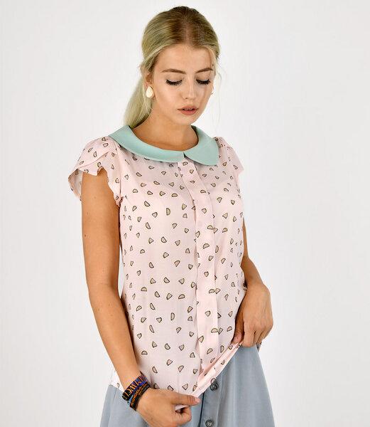 fr ulein stachelbeere sommerliche bluse mit melonens em print und bubikragen 777781625. Black Bedroom Furniture Sets. Home Design Ideas