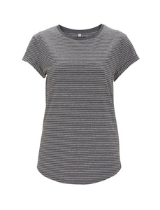 Women's Rolled Up Stripe Shirt - Black/Heather - Continental Clothing