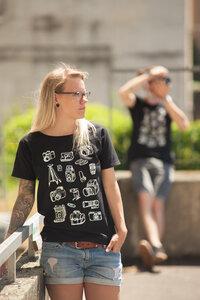 Fotokameras- Fair gehandeltes Frauen T-Shirt - Slub Black - päfjes