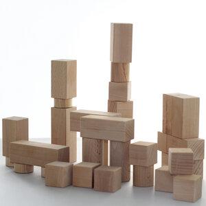 Kinder Holzbausteine handgefertigt 48 Teile Buche und Esche unbehandelt Unikate - Lajos Varga