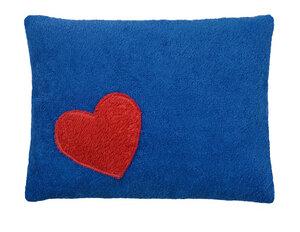 Efie Kissen blau, Herz, aus kontrolliert biologischer Baumwolle, 100 % - Efie