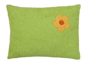 Efie Kissen grün, Blümchen, aus kontrolliert biologischer Baumwolle - Efie