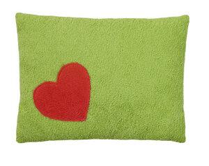 Efie Kissen grün, Herz, aus kontrolliert biologischer Baumwolle, - Efie