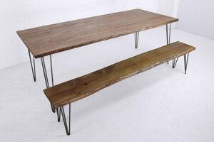 großer Esstisch auf Hairpin-Beinen mit Sitzbank aus Eichenholz - Hardman Design & Build