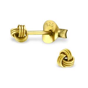 Zarter Ohrstecker Knoten aus 925er Sterling Silber - Gold  - LUXAA