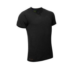 Merino Shirt Kurzarm Regularfit V-Neck 200 Herren - KAIPARA - Schwarz - Kaipara - Merino Sportswear