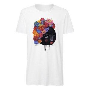Yackfou Blumenhaar Herren Long T-Shirt white Bio & Fair - Yackfou