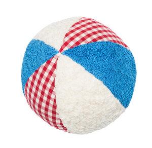 Efie Rassel Ball groß, weiß/blau, kbA (organic), Made in Germany  - Efie