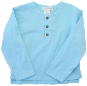 Langarm Shirt mit Knopfleiste in türkisblau. - Serendipity