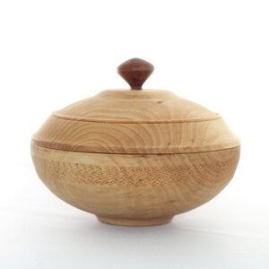 Holzdose mit Deckel Höhe 14 cm Ø 18,5 cm Unikat - Lajos Varga