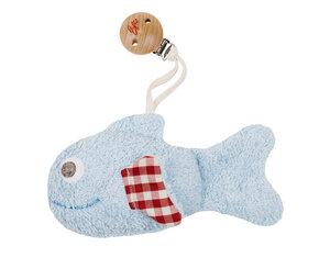 Efie Clip - Fisch blau, mit Rassel, kbA  (organic), Made in Germany - Efie