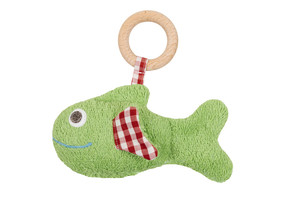 Efie Fisch grün, mit Rassel und Holzring, kbA (organic), Made in Germany - Efie