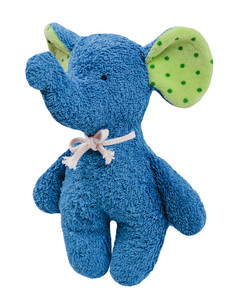 Efie Rassel Elefant blau, kbA (organic), Made in Germany - Efie