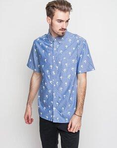 AO Short Sleeve Painted P Blue Hemd mit Palmenprint - DEDICATED