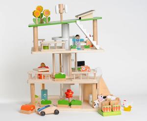 3-stöckiges, drehbares und nachhaltig-gestaltetes Puppenhaus  - EverEarth