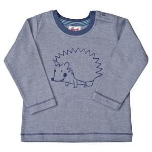 Langarmshirt blau mit Igel Print - People Wear Organic