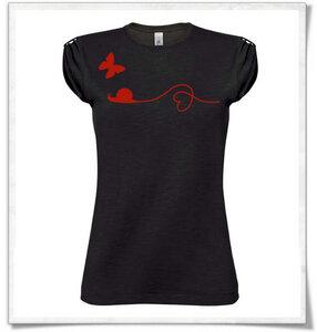 Schnecke  Schmetterling T-Shirt in schwarz - Picopoc