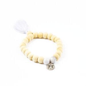 """Armband """"AIR"""" mit Holz und Howlith - für Yoga und Meditation - oh bali"""