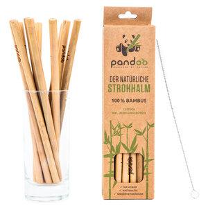 12er-Pack Strohhalme aus 100% Bambus | wiederverwendbare Trinkhalme - pandoo®