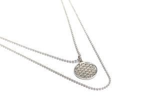 Silberkette flower of life - Blume des Lebens - doppelreihig - Yoga - oh bali