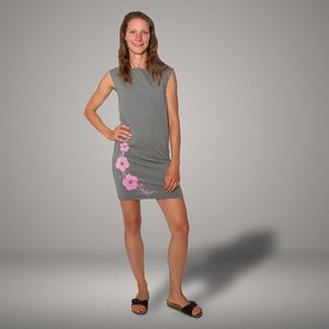 'Hibisken' Bio-Kleidchen in Platingrau - shop handgedruckt