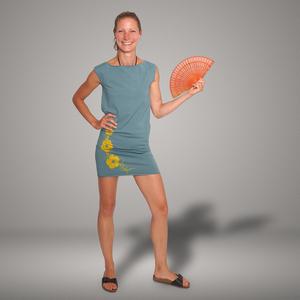 'Hibisken' Bio-Kleidchen in Taubenblau - shop handgedruckt
