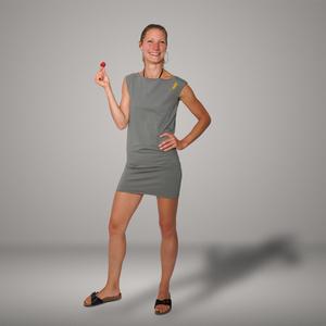 'Eine Ameise' Bio-Kleidchen in Platingrau - shop handgedruckt