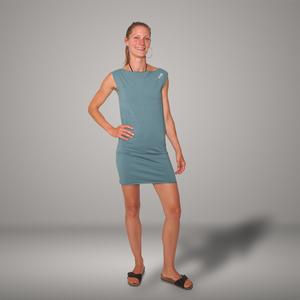 'Eine Ameise' Bio-Kleidchen in Taubenblau - shop handgedruckt