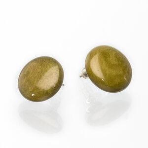 Tagua Ohrstecker Ohrring klein olivegrün d=1,3 - Bea Mely