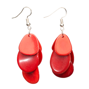 Tagua Chips Ohrring rot - Bea Mely