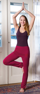 Yogahose mit breitem Rockbund rosenrot - The Spirit of OM