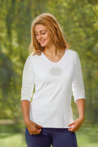 Shirt 3/4 Arm - flower of life - weiß - The Spirit of OM