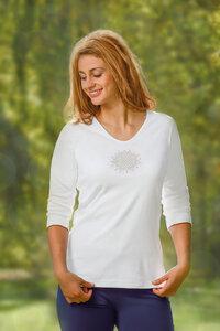 Shirt 3/4 Arm - flower of life - weiß - The Spirit of OM